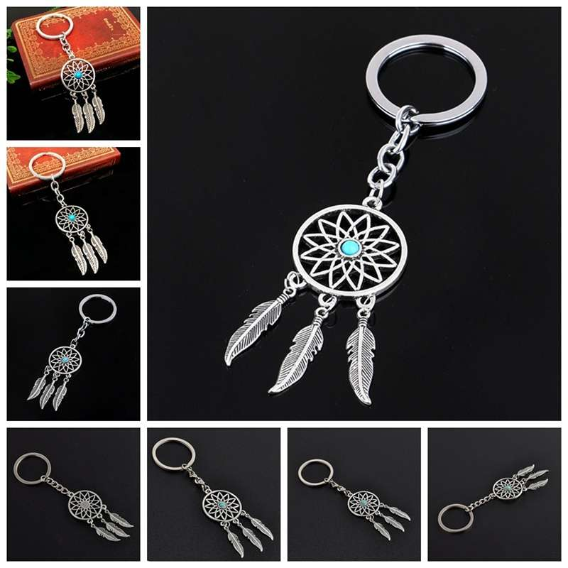 New Silver Metal Key Chain Ring Feather Tassels Dream Catcher Keyring Keychain WIS-long-9