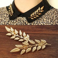 JPkB-2Pcs Fashion Jewelry Gold Silver Tree Leaf Collar Pin Brooches Party Jewelry Gifts