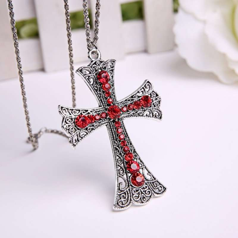 New Fashion Cross Pendant Necklace with Red Rhinestone (Size: One Size, Color: Silver & Red)-10