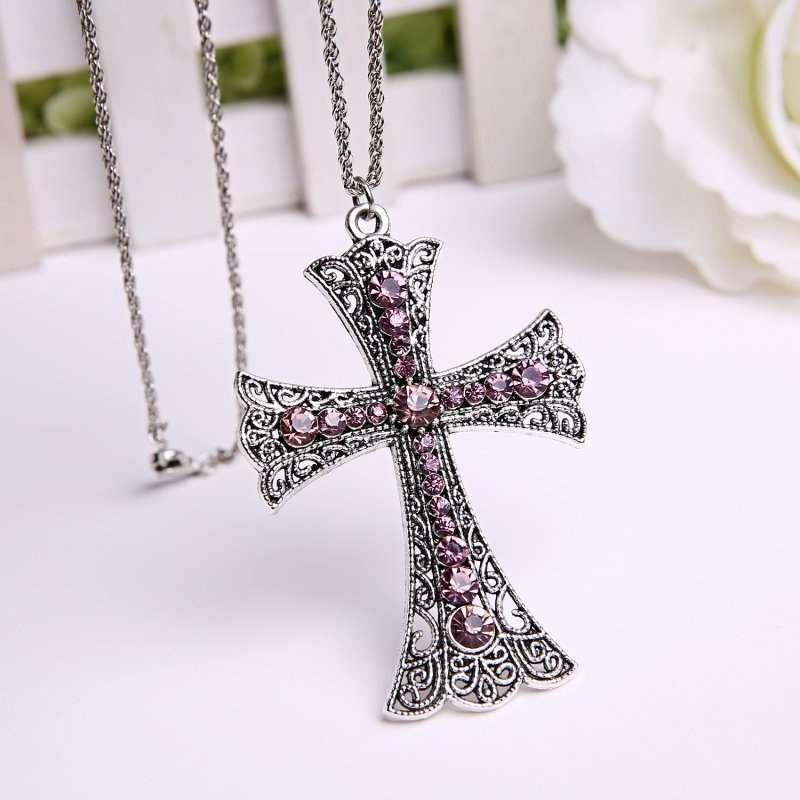 New Fashion Cross Pendant Necklace with Red Rhinestone (Size: One Size, Color: Silver & Red)-7
