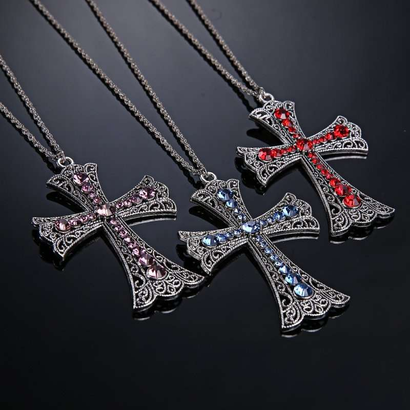 New Fashion Cross Pendant Necklace with Red Rhinestone (Size: One Size, Color: Silver & Red)-8
