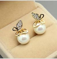 JRed-Butterfly Pearl Earrings Crystal Golden Butterfly Imitation Pearl Ear Stud Earrings