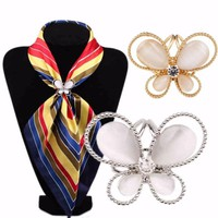 JSxB-Butterfly Scarf Buckle Wedding Brooch Holder Scarf Jewelry