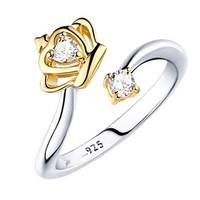 JT6Z-Silver Jewelry Crown Opening Ring Adjustable Upscale Creative Zircon Ring Fashion Jewelry Lovers