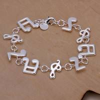 JVkB-New Women 925 Sterling Silver Plated Charm Cute Music Note Chain Bracelet Bangle