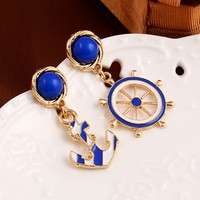 JVqN-Women Cute New Personality Earrings Anchor Stud Earrings Drop Earnings Jewelry  Color Royal Blue