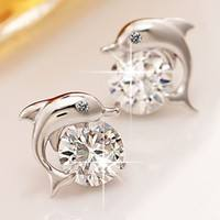 JWaS-Crystal Eye Dolphin Stud Earrings Women 925 Sterling Silver Jewelry