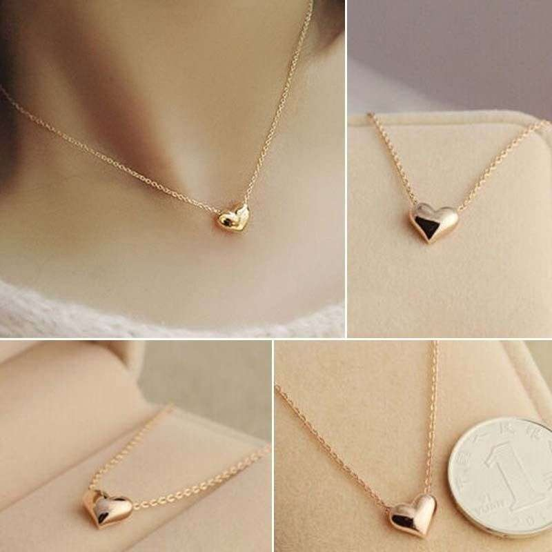 Lovely Ladies Design Exquisite Gold Color Chain Heart Love Pendant ...