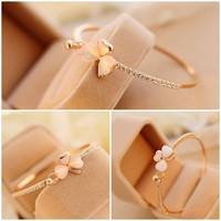 JZ8R-Fashion Charm Women Flower Crystal Gold Plated Cuff Bracelet Bangle Jewelry