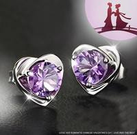 JZ8z-Women Lady Elegant 925 Sterling Silver Ear Stud Earrings Heart