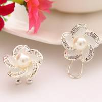 JZUG-Cheap Elegant White Pearl Crystal Flower Women Stud Earrings