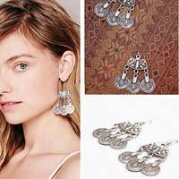 JZcs-Bohemian Style Silver Coin Hippie Tibetan Tribal Dangle Hook Earrings
