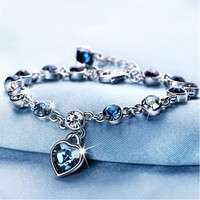 Women's Fashion Accessories Shinning Rhinestone Chain Crystal Heart Bracelet-4