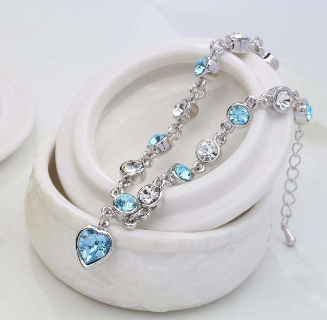Women's Fashion Accessories Shinning Rhinestone Chain Crystal Heart Bracelet-1