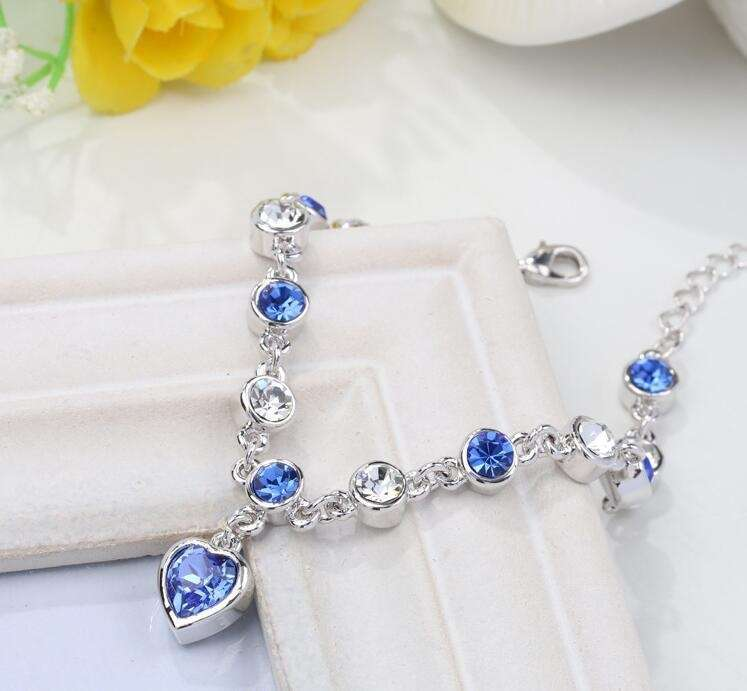 Women's Fashion Accessories Shinning Rhinestone Chain Crystal Heart Bracelet-2