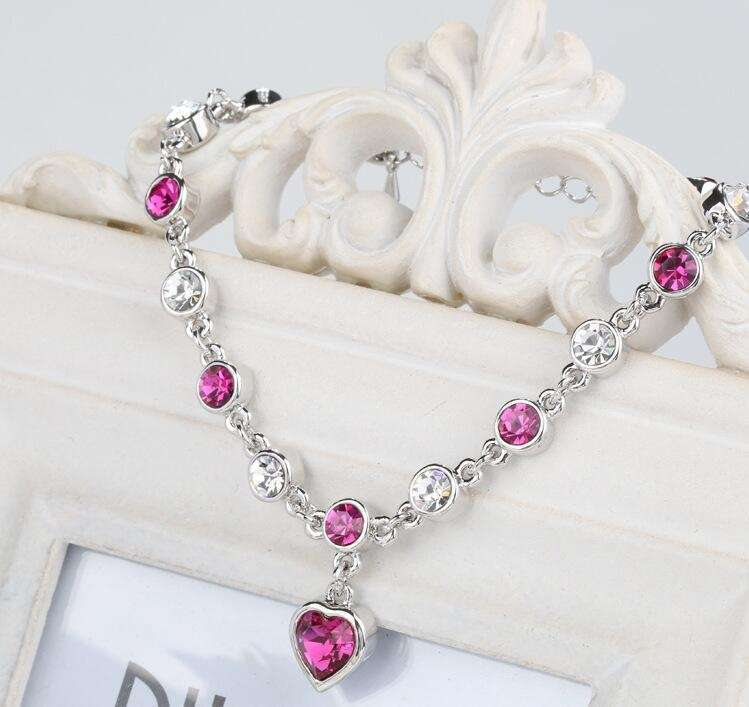 Women's Fashion Accessories Shinning Rhinestone Chain Crystal Heart Bracelet-3