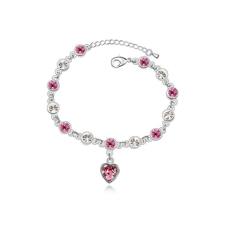 Women's Fashion Accessories Shinning Rhinestone Chain Crystal Heart Bracelet-5