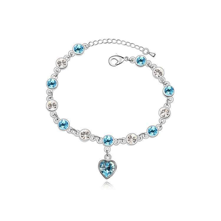 Women's Fashion Accessories Shinning Rhinestone Chain Crystal Heart Bracelet-6