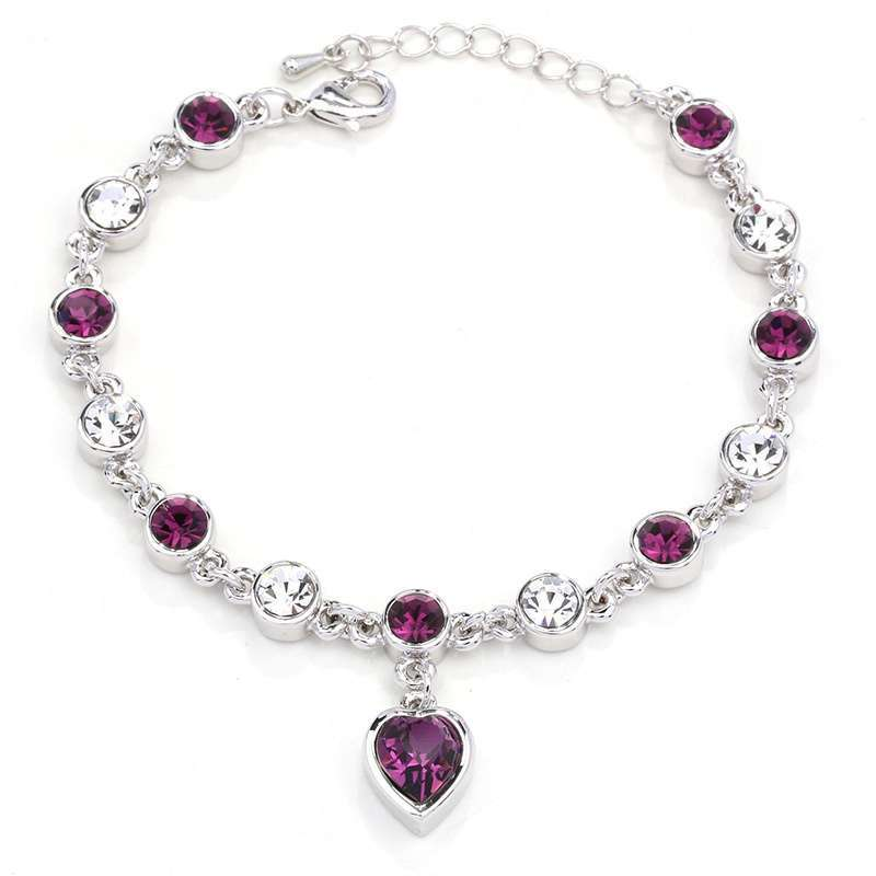 Women's Fashion Accessories Shinning Rhinestone Chain Crystal Heart Bracelet-7