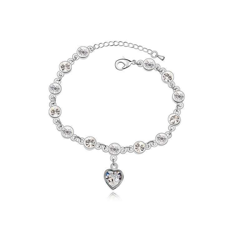 Women's Fashion Accessories Shinning Rhinestone Chain Crystal Heart Bracelet-8