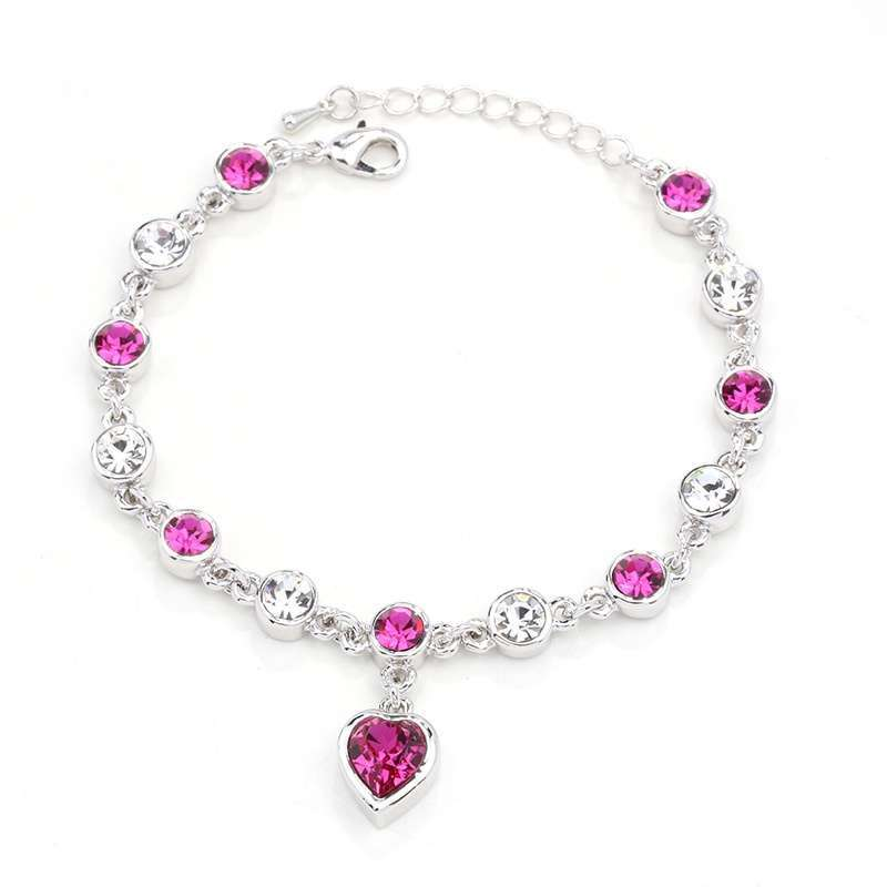 Women's Fashion Accessories Shinning Rhinestone Chain Crystal Heart Bracelet-9