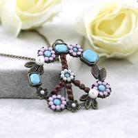 Jaex-Vintage Flower Coral Turquoise Pearl Peace Sign Pendant Long Necklace Jewelry