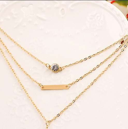 Women Fashion Small Dots Exquisite Necklace Three Layers Design Necklace-1