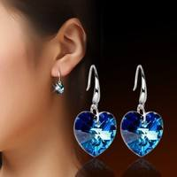 JbNS-Crystal Blue Ocean Heart Drop Earrings Dangle Earrings