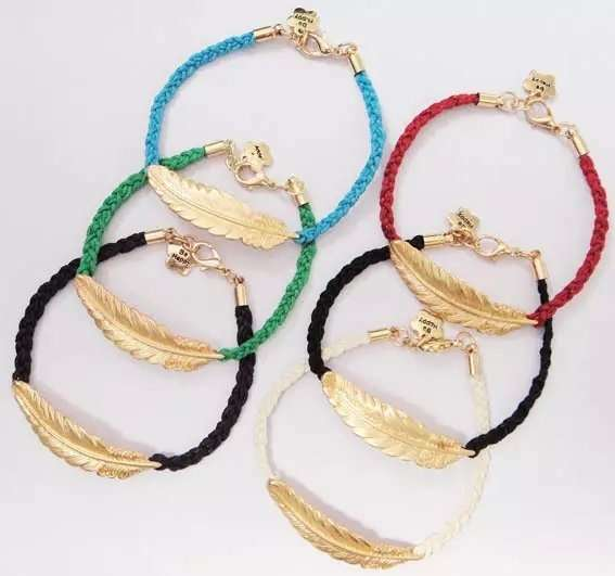 Unisex Fashion Creative Leaf Bracelet Metalic Feather Knit Personality Gold Blue Red Green Black Jewelry Gifts Women Men