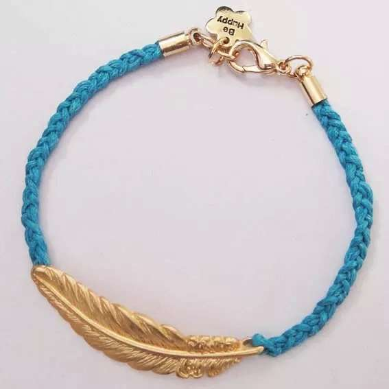 Unisex Fashion Creative Leaf Bracelet Metalic Feather Knit Personality Gold Blue Red Green Black Jewelry Gifts Women Men-1
