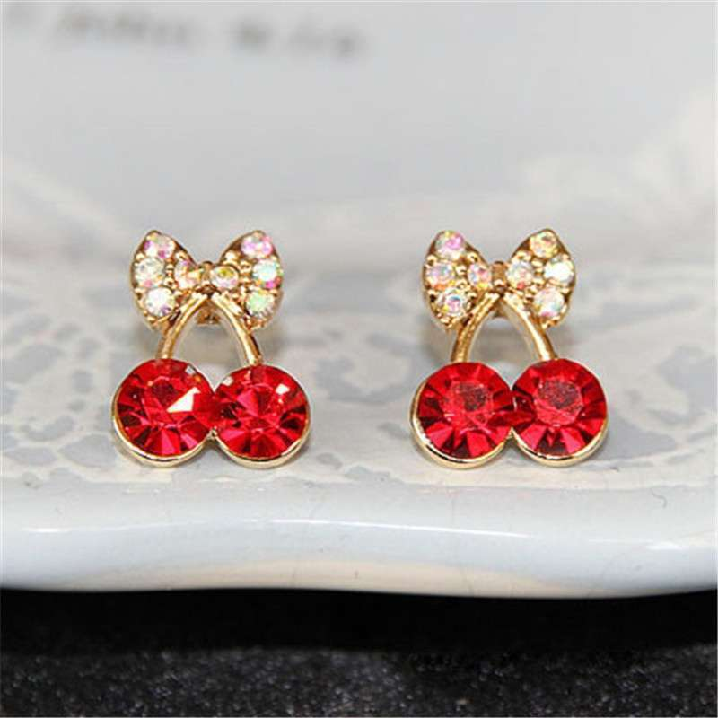Women Pretty Fashion Crystal Cherry Bow Knot Stud Earrings Cute Rhinestone Beautiful E Color