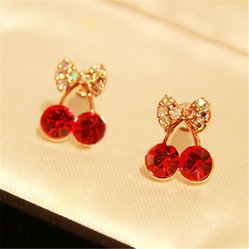 Women Pretty Fashion Crystal Cherry Bow knot Stud Earrings Cute Rhinestone Earrings beautiful space (Color: Red)-1