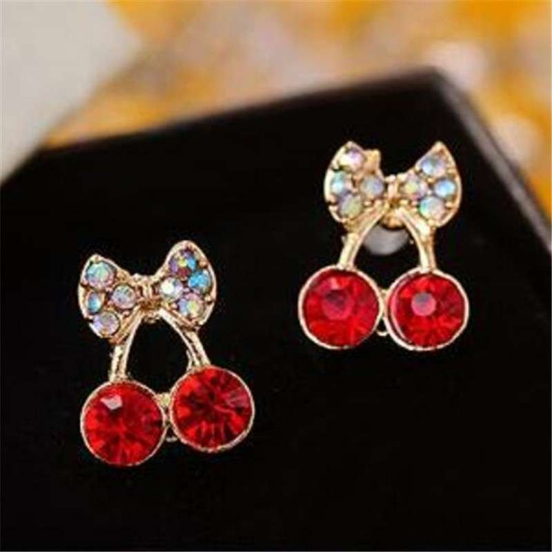 Women Pretty Fashion Crystal Cherry Bow knot Stud Earrings Cute Rhinestone Earrings beautiful space (Color: Red)-2