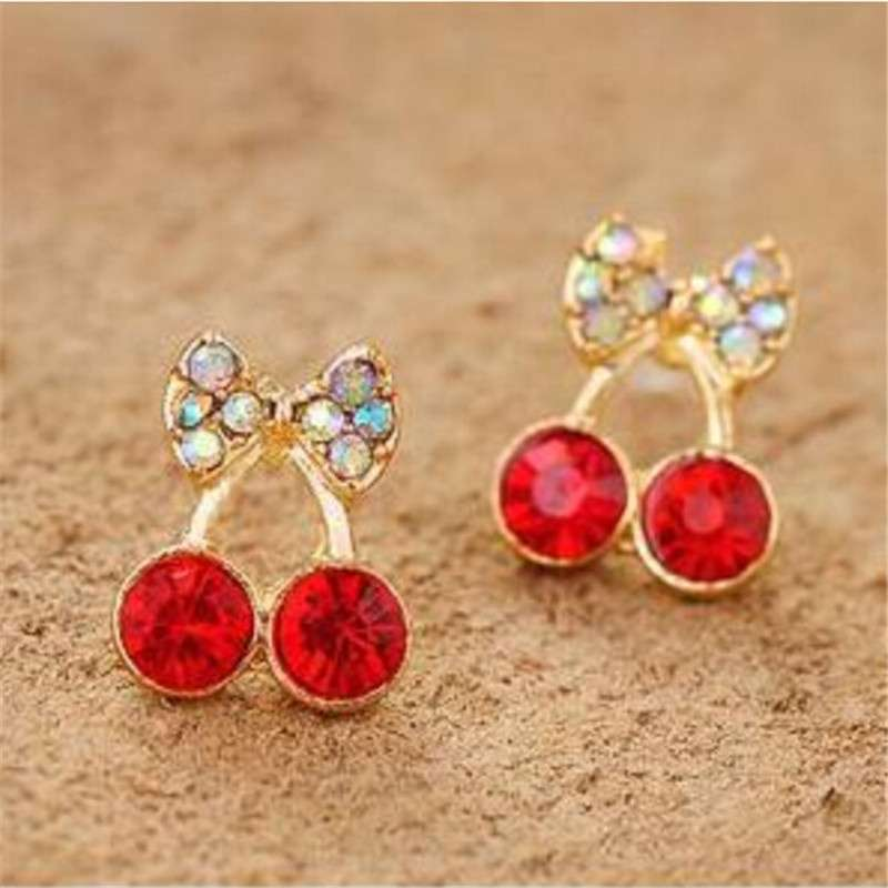 Women Pretty Fashion Crystal Cherry Bow knot Stud Earrings Cute Rhinestone Earrings beautiful space (Color: Red)-3
