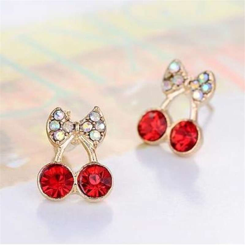 Women Pretty Fashion Crystal Cherry Bow knot Stud Earrings Cute Rhinestone Earrings beautiful space (Color: Red)-4