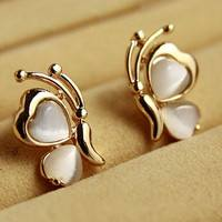 JdHj-Chic Lovely Opal Butterfly Ear Stud Earrings Ear Pin For Women