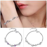 Je0X-Silver Dolphin Crystal Diamond Bracelet Chain Bangle Jewelry