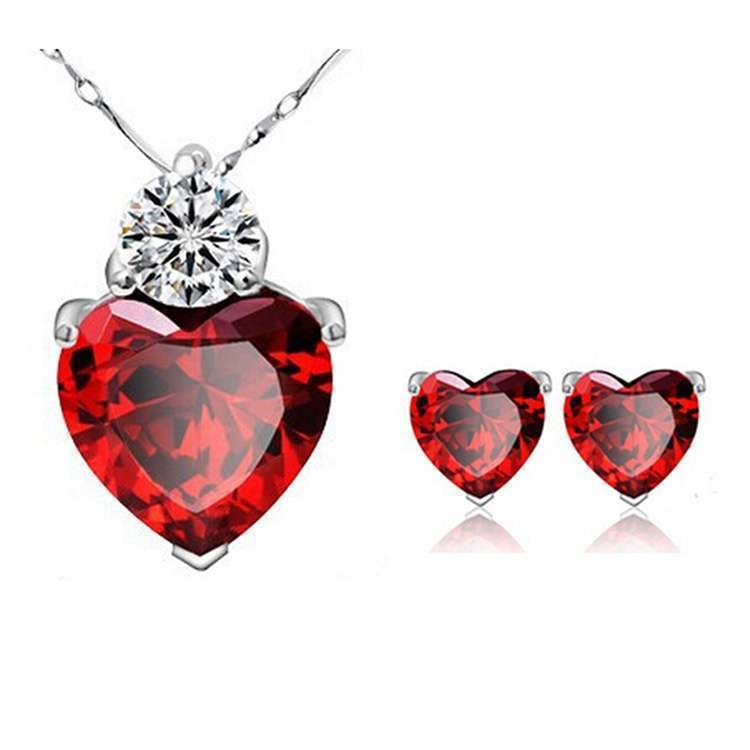 Crystal Jewelry Sets Red Heart shape Pendants & Necklaces Stud Earring Silver Plated Chain For Women