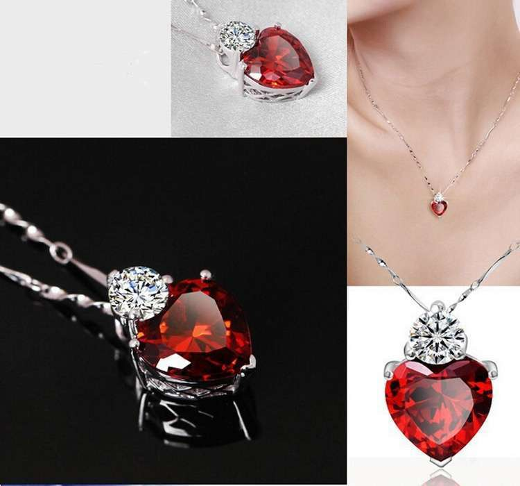Crystal Jewelry Sets Red Heart shape Pendants & Necklaces Stud Earring Silver Plated Chain For Women-1