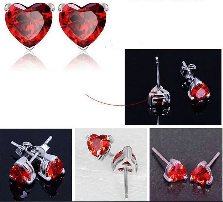 Crystal Jewelry Sets Red Heart shape Pendants & Necklaces Stud Earring Silver Plated Chain For Women-2