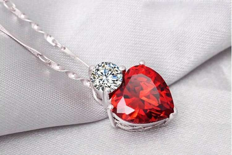 Crystal Jewelry Sets Red Heart shape Pendants & Necklaces Stud Earring Silver Plated Chain For Women-3