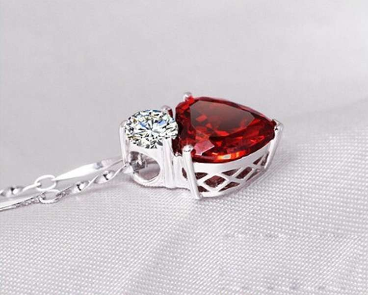 Crystal Jewelry Sets Red Heart shape Pendants & Necklaces Stud Earring Silver Plated Chain For Women-4