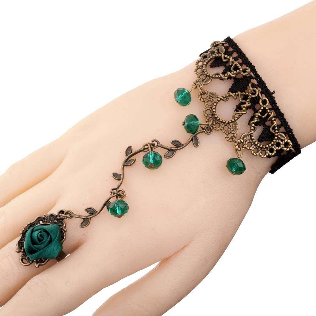 Yazilind Lolita Green Rose Branch Shape Crystal Metal Black Lace Slave Bracelets with Ring (Color: Green)