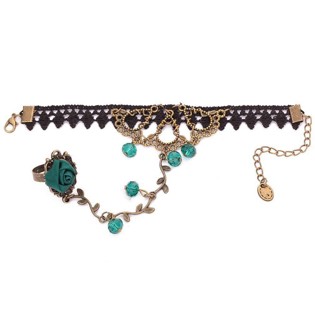 Yazilind Lolita Green Rose Branch Shape Crystal Metal Black Lace Slave Bracelets with Ring (Color: Green)-1