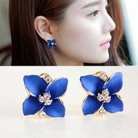 JiWi-2016 Hot Sale Stylish Classic Gardenia Drip Earrings High-grade Fine Lady Diamond Ear Clip Earrings Color Retention Jewelry