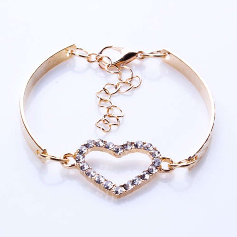 Arrival Fashion Bracelet Hollow Alloy Jewelry Heart shaped Diamond Bracelet-1