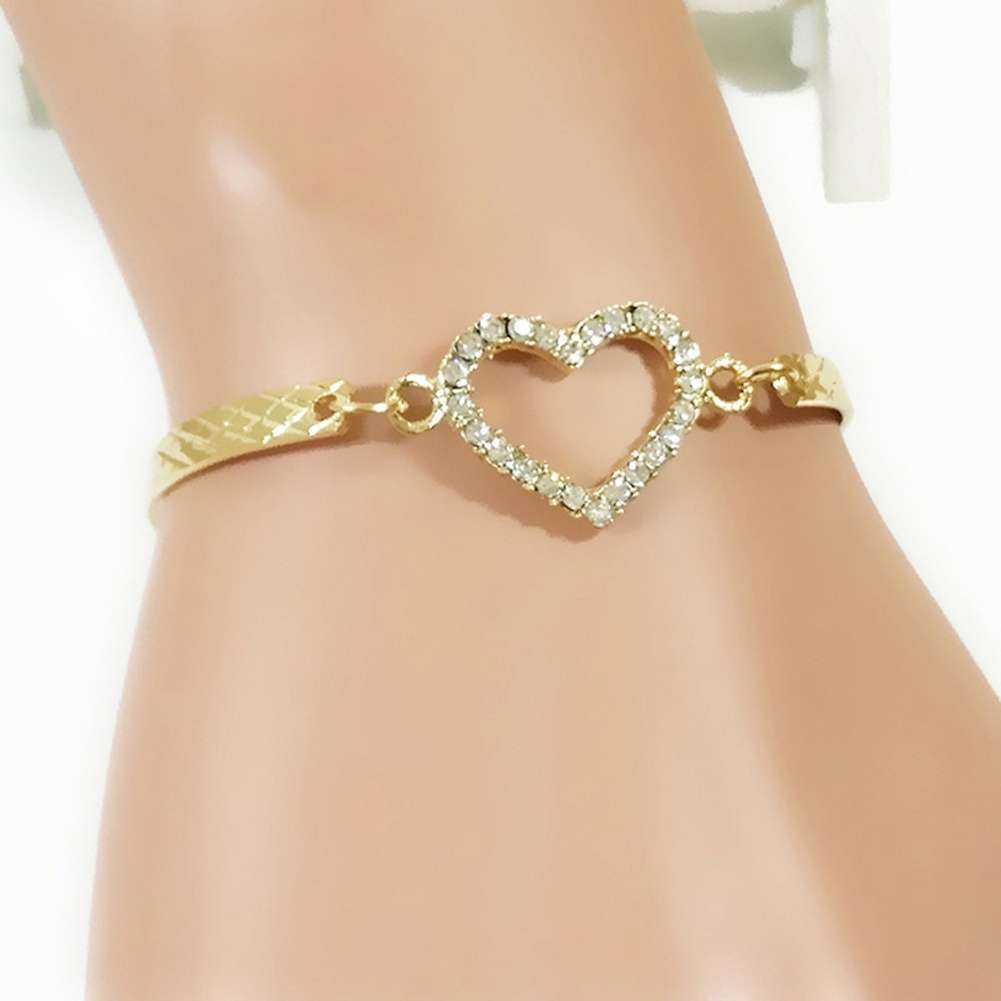 Arrival Fashion Bracelet Hollow Alloy Jewelry Heart shaped Diamond Bracelet-2