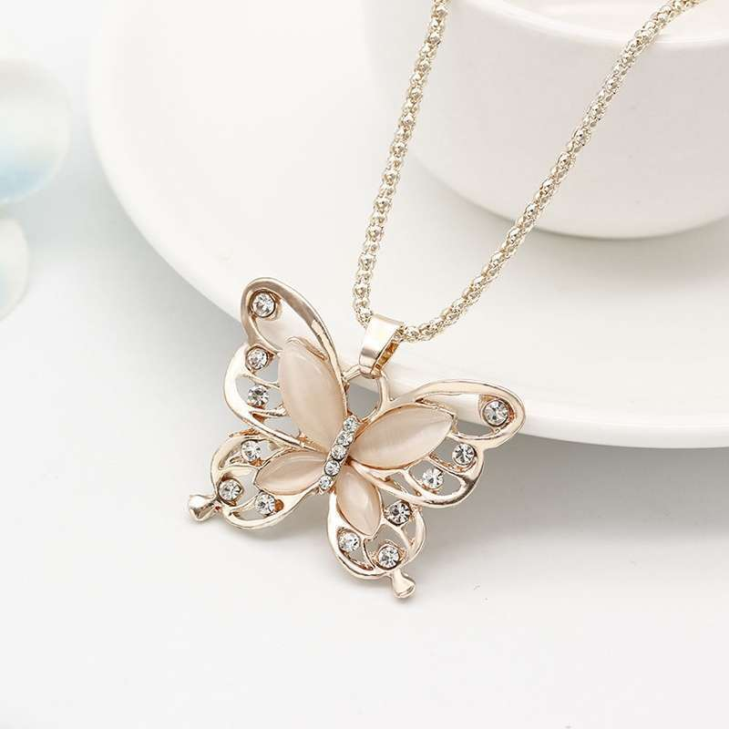 Women Lady Rose Gold Opal Butterfly Pendant Necklace Sweater Chain-1