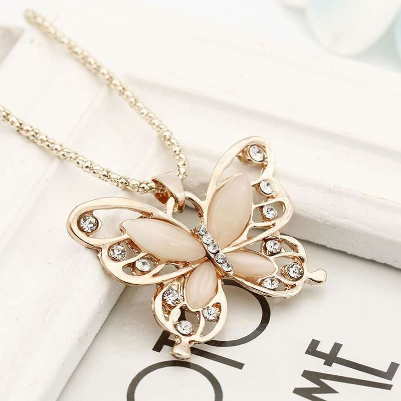 Women Lady Rose Gold Opal Butterfly Pendant Necklace Sweater Chain-2