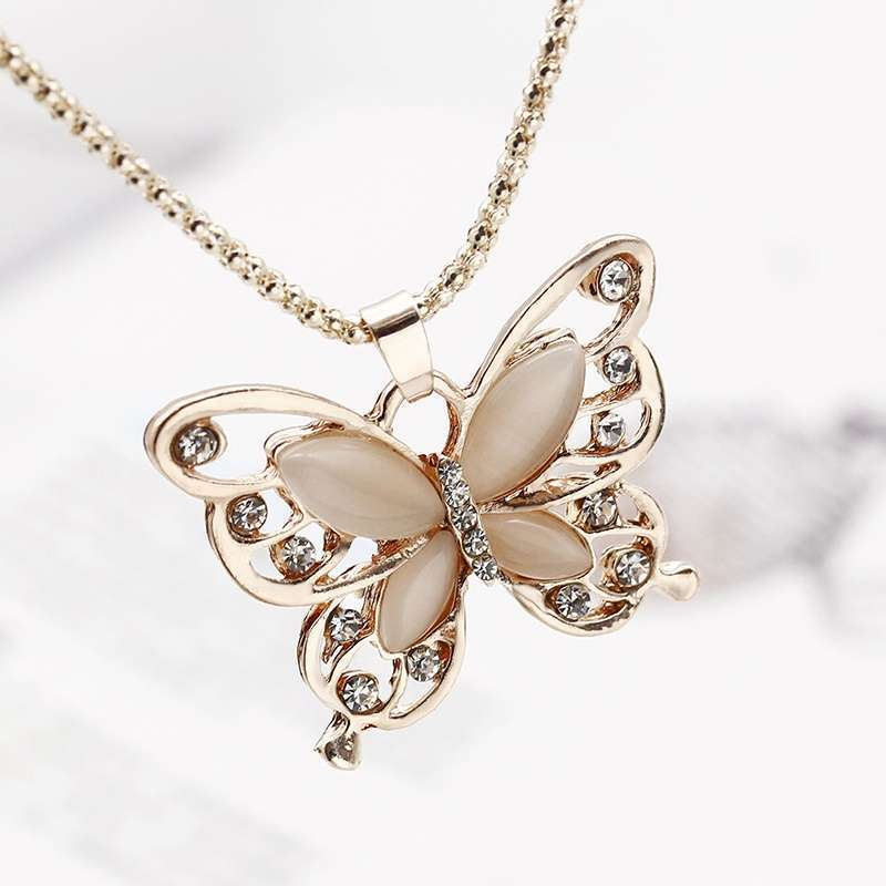 Women Lady Rose Gold Opal Butterfly Pendant Necklace Sweater Chain-3